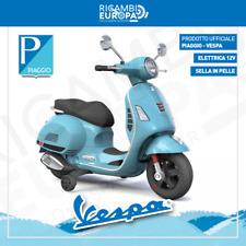 Moto Vespa Piaggio elettrica per bambini CELESTE scooter 12V 5km/h suoni e luci