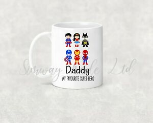 Mug for Dad Fathers Day Novelty Personalised Gift Birthday Favourite Super Hero