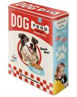 XLarge Retro Embossed Storage Tin Box DOG FOOD Red 1950's 4Ltr Nostalgic Art