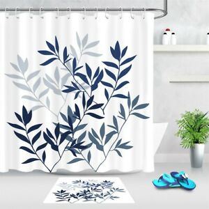 Dark Blue Sketch Twigs Leaves White Fabric Shower Curtain Set Bathroom Decor 72""