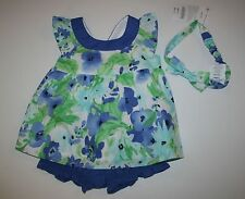 New Gymboree Girls 3 Pc Set Floral Watercolor Top Shorts Headband 18-24M Spring
