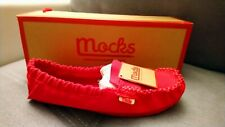 RED CANVAS MOCKS FLATS SHOES LOAFERS MOCCASINS SIZE 5 / 38  NEW & BOXED