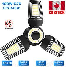 3 Leaf LED Garage Light Screw In Bulb Deformable Ceiling Lights Lamp 100W-E26 CA