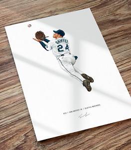 Ken Griffey Jr Catch Seattle Mariners Illustrated Baseball Print Poster Art