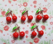 5pcs x Red Cherry 3D Enamel Silver Plated Alloy CHARM Pendants DIY Jewellery