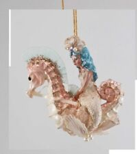 Katherine's Collection Mermaid On A Sea Horse Christmas Ornament PINK SEAHORSE