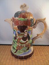 Antique Japanese Satsuma Ceramic Coffee Pot Pitcher Moriage Samurai Flower Japan