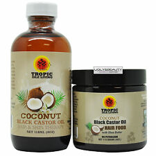 Tropic Isle Living Coconut Black Castor Oil + Hair Food 4 Oz Duo