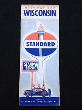 Vintage 1940's WISCONSIN Standard Oil of Indiana Road Map