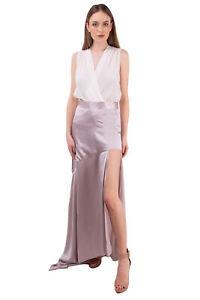 RRP €610 MICHAEL LO SORDO Silk Satin Asymmetrical Skirt Size 10 / M Cut Out