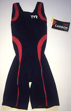 Tyr Women's Xs Blue Red White Triathlon Shortjohn Carbon Aeroback Usa Made New