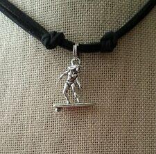 Leather Necklace Surfer Charm Pendant Handmade Men's Woman Choker Black