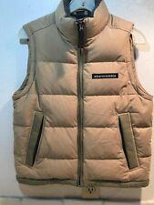 Abercrombie Tan Goose Down Ski Vest Puffer Full Zip Mens Medium Spellout Khaki