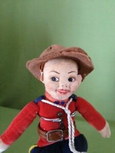 """Norah Wellings vintage 9"""" Royal Canadian Mounted Police doll, Made in England"""