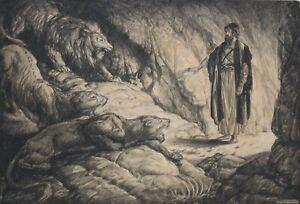 EDMUND F. WARD-NY Realist-Original Signed Charcoal-Biblical Scene/Lion's Den