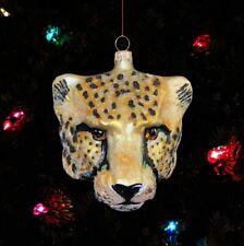 Cheetah blown glass Christmas ornament Slavic Treasures Poland nature Africa
