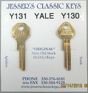Yale Y131 Y130 Brass DeSoto Service NOS Keys 1949 1950 1951 1952 1953 1954