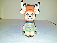 Ceramic hand made painted ceramic adorable hunting hunter deer artist signed