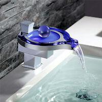 LED Badarmaturen RGB Wasserhahn Waschtischarmatur Wasserfall Mischbatterie f.Bad