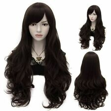 100% Real Hair! Natural Black Fluffy Wavy Long Capless Vogue Wig