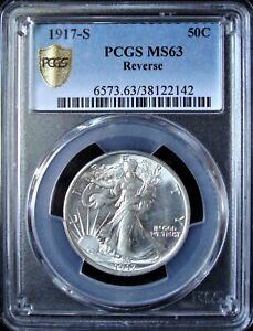 1917-S Reverse Walking Liberty Silver Half Dollar - PCGS MS 63 - Gold Shield