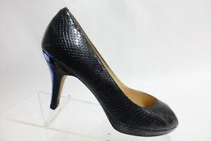 COLE HAAN Peep-Toe Black Sz 7.5 B Women Snake Embossed Heel Pumps