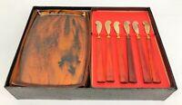 Set of 6 Vintage MCM Soovia Janis Tortoise Canape Trays (Plates) & Spreaders