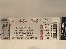 Fleetwood Mac Concert Ticket Stub 10-18-2014 Toronto ON Canada