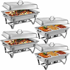 4 Pack Chafing Dish Sets Buffet Catering Chafer 1/3 Full Size Stainless Steel
