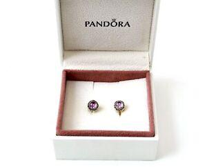 PANDORA 925 STERLING SILVER 8MM Round AMETHYST Stud Earrings, 2.88g *BOXED - BA7