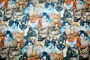 WHISKERS AND PAWS DIGITAL PRINTED CATS FROM HOFFMAN  - 100% COTTON FABRIC