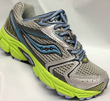 Saucony Girls Lace Sneakers  Light Grey/Blue/Lime   Youth Size 2 1/2 Wide  SALE