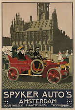 Spkyer Auto's Amsterdam 1910 Vintage Auto Poster CANVAS PRINT 24x32 in.