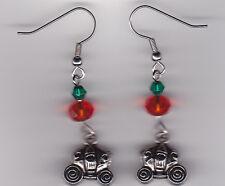Pumpkin Carriage - Cinderella  (Tibetan Silver) & Orange & Green Swarovski Beads