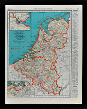 1938 McNally Map Netherlands Holland Belgium Luxembourg Amsterdam Brussels Ghent