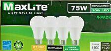 Maxlite 98374 E10A19D27/4P/WS1 A19 A Line Pear 75 Watt LED Light Bulb 4 Pack