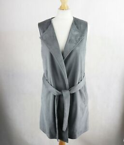 Womens NEXT Faux Suede Gilet Vest Size UK 10 Sleeveless Body warmer Grey Belted