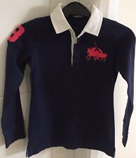 Girls Polo Ralph Lauren Navy Long Sleeve Top - with a White Collar