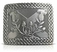 Saltire Thistle Brass Kilt Belt Buckle - Solid Brass