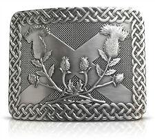 Saltire Thistle Brass Kilt Belt Buckle - Solid Brass