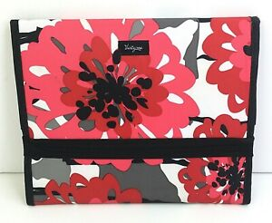 Thirty-One Tri-Fold Holder (for Ipad, Notebook etc.) Floral Pink Black 6A