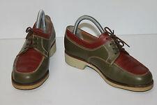STEPHANE GONTARD Derby GOLF Vintage Cuir Kaki et Marron T 3.5 UK / T 36 TBE