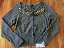 NEW ladies XL INC international concepts GRAY FANCY SWEATER cardigan VINTAGE