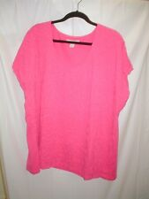 Laura Ashley 3x fuscia knit top with textured squiggles on front