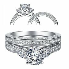 Cubic Zirconia Sterling Silver for Women Wedding Ring Set Three Stone 2.3 Ctw