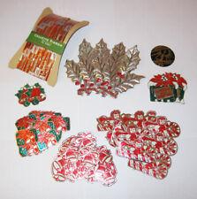 1930s Vintage Christmas Cello Ribbon & Sticker Foil Art Deco Candy Cane Sled Lot