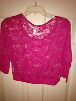 Color Story Womens Pink Floral Sheer Lace Cropped 1/2 Sleeve Cover-Up Size Sz L