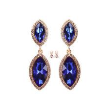 Blue Clip on Earring Bridal Wedding Prom Party Crystal Rhinestone Chandelier New