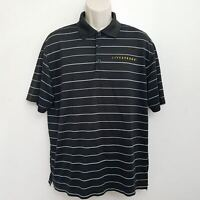 Nike Livestrong Polo Shirt Large Dri Fit Black White Striped Short Sleeve