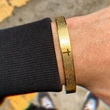 Men Women Stainless Steel Cross Bracelet Carving Spanish Scripture Cuff Love